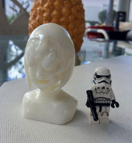 { Bust prototype 1 with Lego Stormtrooper for scale. }